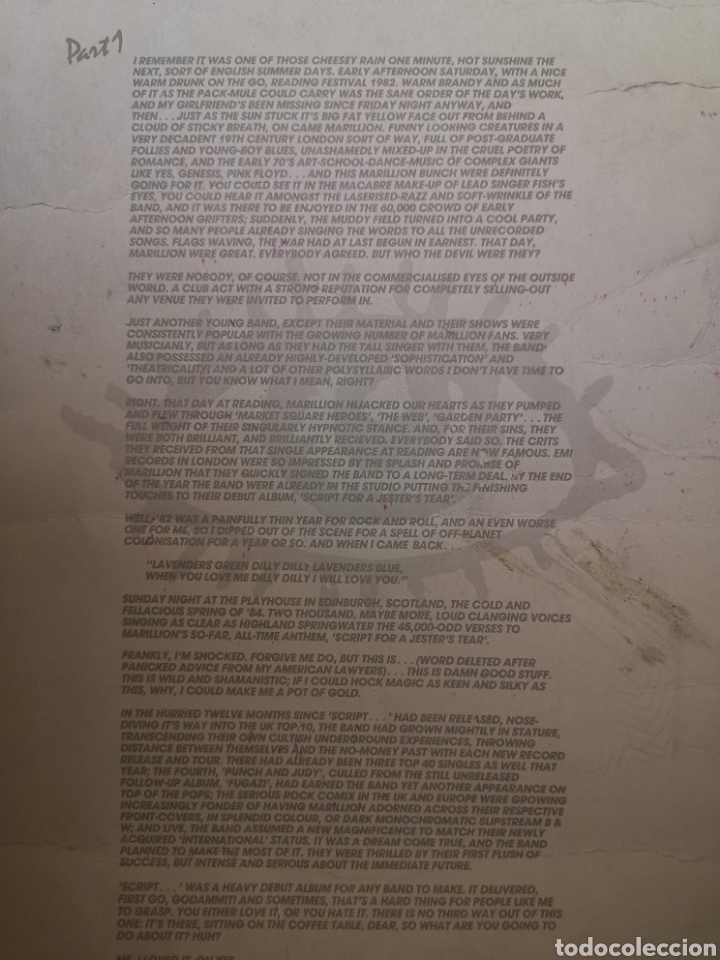 Catálogos de Música: GRAN LÁMINA PÓSTER CARTONÉ MARILLION SCRIPT FOR A JESTERS TEAR 42X30CM 1986 OFICIAL - Foto 4 - 195358443