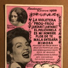 Cataloghi di Musica: CANCIONERO ÉXITOS 1958 (SARITA MONTIEL, RAQUEL MELLER, LA GOYA). EDICIONES BISTAGNE. Lote 195438318