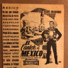 Catálogos de Música: CANCIONES POPULARES DE MODA: LUIS MARIANO. EL CANTOR DE MEXICO. 16 PÁGINAS. Lote 195439407