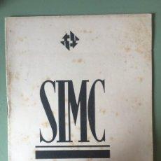 Catálogos de Música: SIMC FESTIVAL SOCIETAT INTERNACIONAL MÚSICA CONTEMPORÀNIA, SEGON CONCERT D'ORQUESTRA 22 ABRIL 1936. Lote 196608432