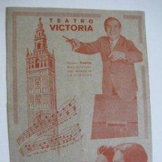 Catálogos de Música: TEATRO VICTORIA-LA GIRALDA-PROGRAMA DE TEATRO ANTIGUO-VER FOTOS-(V-19.752). Lote 202576260