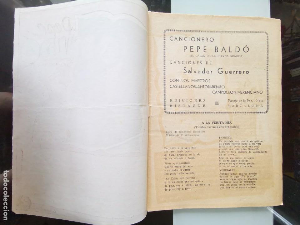 Catálogos de Música: CANCIONERO PEPE BALDÓ - EL GALÁN DE LA ETERNA SONRISA - EDICIONES BISTAGNE - Foto 2 - 202618051