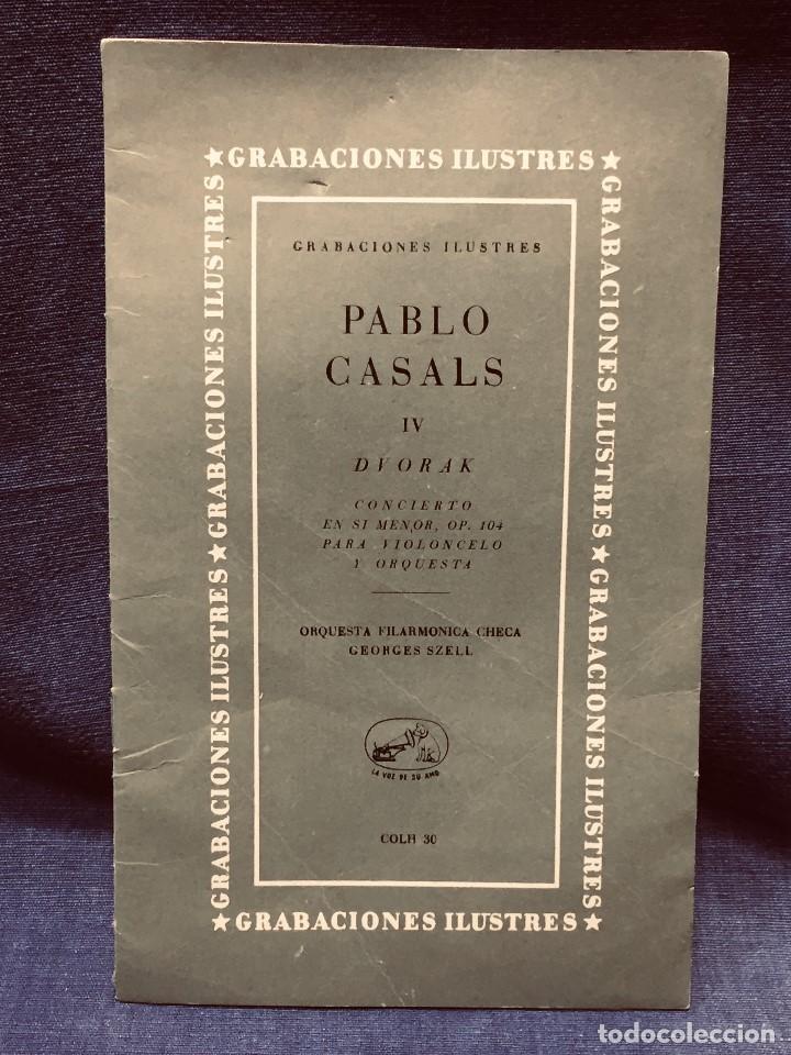 GRABACIONES ILUSTRES PABLO CASALS 1966 DVORAK CONCIERTO SI MENOR OP 104 22X13,5CMS (Música - Catálogos de Música, Libros y Cancioneros)