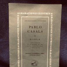 Catálogos de Música: GRABACIONES ILUSTRES PABLO CASALS 1966 DVORAK CONCIERTO SI MENOR OP 104 22X13,5CMS. Lote 203838176