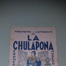 Catálogos de Música: ARGUMENTO Y CANTABLE LA CHULAPONA. Lote 204532822