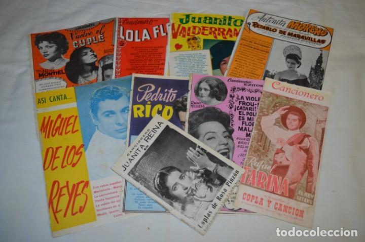 9 CANCIONEROS AÑOS 50 / 60 - SARITA MONTIEL, LOLA FLORES, RAFAEL FARINA, J. REINA, ETC.. LOTE 03 (Música - Catálogos de Música, Libros y Cancioneros)