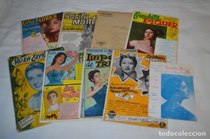 9 CANCIONEROS AÑOS 50 / 60 - SARITA MONTIEL, LOLA FLORES, C. MORELL, PEPE BLANCO, ETC.. LOTE 04 (Música - Catálogos de Música, Libros y Cancioneros)