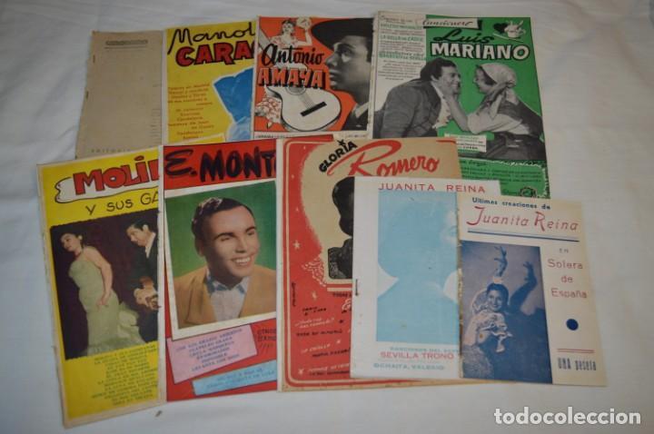 9 CANCIONEROS AÑOS 50 / 60 - MANOLO CARACOL, ANTONIO AMAYA, LUIS MARIANO, E. MONTOYA, ETC.. LOTE 06 (Música - Catálogos de Música, Libros y Cancioneros)