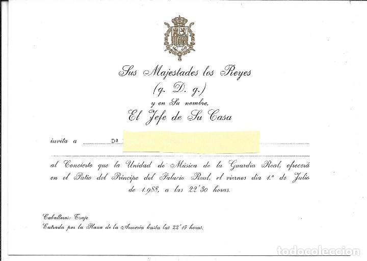 TARJETA INVITACION AL PALACIO REAL DE MADRID - PRESIDENCIA DE HONOR S.M. LOS REYES DE ESPAÑA 1.988 (Música - Catálogos de Música, Libros y Cancioneros)