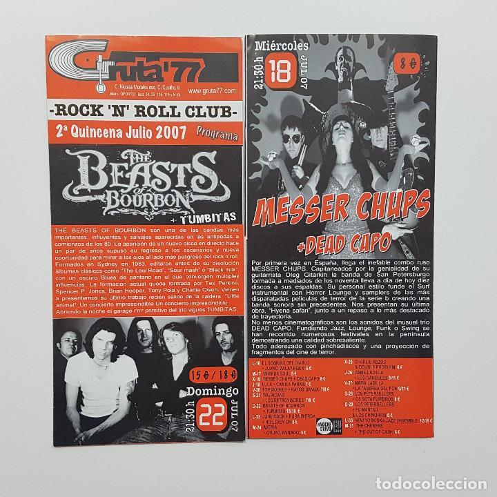 Catálogos de Música: Lote Gruta 77 tres trípticos programa Gruta 77 Rock n Roll Club 2007. Messer Chups - Foto 3 - 205526046