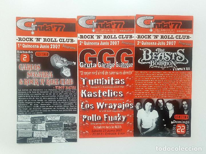 LOTE GRUTA 77 TRES TRÍPTICOS PROGRAMA GRUTA' 77 ROCK 'N' ROLL CLUB 2007. MESSER CHUPS (Música - Catálogos de Música, Libros y Cancioneros)