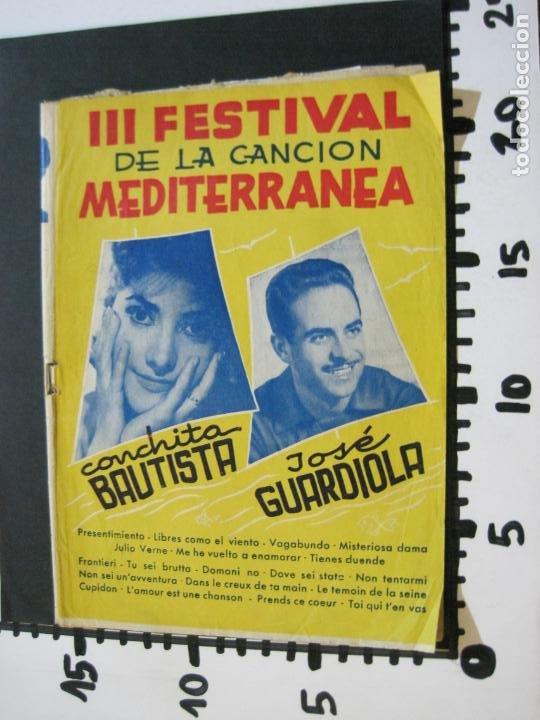 Catálogos de Música: III FESTIVAL CANCION MEDITERRANEA-JOSE GUARDIOLA Y CONCHITA BAUTISTA-ED·ALAS-VER FOTOS-(V-20.237) - Foto 20 - 205798667