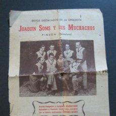 Catálogos de Música: PINEDA-ORQUESTA JOAQUIN SOMS Y SUS MUCHACHOS-VER FOTOS-(V-20.255). Lote 206155751