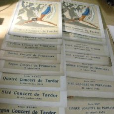 Catálogos de Música: GRAN LOTE 40 CATALOGO ORQUESTRA PAU CASALS . PALAU MUSICA CATALANA 1929-1930-1932- 1933-1934-1935. Lote 206595060