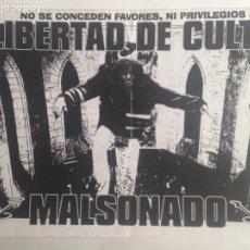 Catálogos de Música: MALSONADO - LIBERTAD DE CULTO . HOJAS PROMO. DOSSIER. Lote 206950981