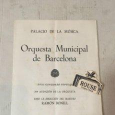 Catálogos de Música: ANTIGUO PROGRAMA DE MUSICA - ORQUESTA MUNICIPAL DE BARCELONA - MAESTRO RAMON BONELL PALACIO DE LAO. Lote 207106972