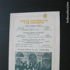 Catálogos de Música: PROGRAMA DE CONCIERTOS DE MUSIA-ORQUESTA ODEON,IBERICA,DAJOS BELA,LA GRAN VIA--VER FOTOS-(V-20.540). Lote 207822890