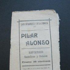 Catálogos de Música: LAS GRANDES CREACIONES DE PILAR ALONSO-IMP·I.MIRO-VER FOTOS-(V-20.623). Lote 208298667