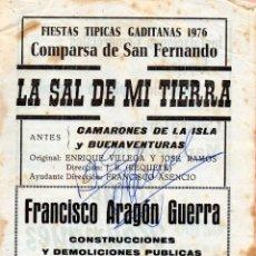 Catálogos de Música: CARNAVAL DE CADIZ 1976 LIBRETO COMPARSA DE D. ENRIQUE VILLEGAS Y REQUETÉ LA SAL DE MI TIERRA. Lote 212208753