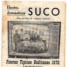 Catálogos de Música: CARNAVAL CADIZ FIESTAS TIPICAS 1970 LIBRETO DE LA CHIRIGOTA LOS SORDOS DE CONVENIENCIA DEL CAROTA. Lote 212258648