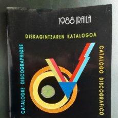 Catálogos de Música: ELKAR, CATÁLOGO DISCOGRÁFICO, DISKAGINTZAREN KATALOGOA, 1988 CON 60 PÁGINAS. Lote 214197396