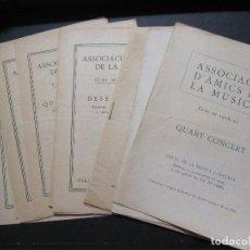 Catálogos de Música: 12 PROGRAMAS ASSOCIACIÓ D'AMICS DE LA MUSICA. 1916 - 1917. BARCELONA 19,5 X 14 CM. Lote 214652086