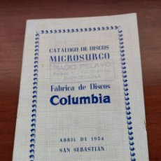 Catálogos de Música: CATÁLOGO DE DISCO MICROSURCO COLUMBIA ABRIL 1954 SAN SEBASTIÁN. Lote 218796552