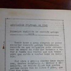 Catálogos de Música: LIBRETO MECANOGRAFIADO..ORIGINAL..PRIMERA AUDICION CANCION GALEGA . ASOCIACION CULTURAL DE VIGO.. Lote 219684698