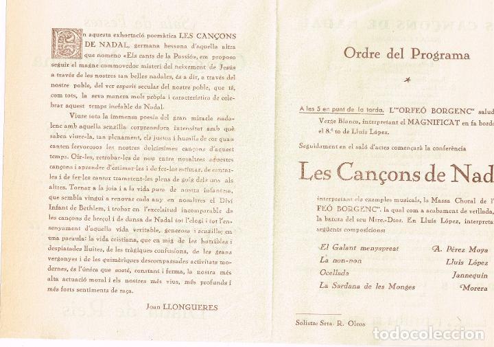 "Catálogos de Música: Programa ""Orfeó Borgenc"" Diada de Reis ""Les Cançons de Nadal"" Exhortació Poemática Joan Llongueres - Foto 2 - 221566282"