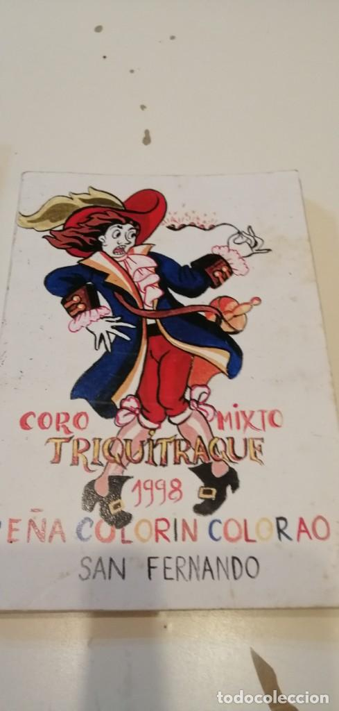 G-46 LIBRO LIBRETO CARNAVAL DE CADIZ CORO MIXTO TRIQUITRAQUE 1998 PEÑA COLORIN COLORAO SAN FERNANDO (Música - Catálogos de Música, Libros y Cancioneros)
