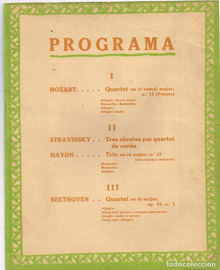 "Catálogos de Música: 1923 Associació de Música ""Da Camera"" Concert Onzè ""QUARTET DE BUDAPEST"" Imp. Oliva de Vilanova - Foto 2 - 222711323"