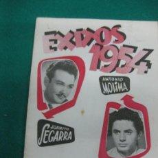 Catálogos de Música: CANCIONERO EXITOS ANTONIO MOLINA - JUANITO SEGARRA. 1954. Lote 227724310