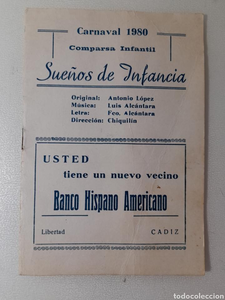 CARNAVAL DE CÁDIZ 1980. ANTIGUO LIBRETO COMPARSA INFANTIL, SUEÑOS DE INFANCIA. (Música - Catálogos de Música, Libros y Cancioneros)