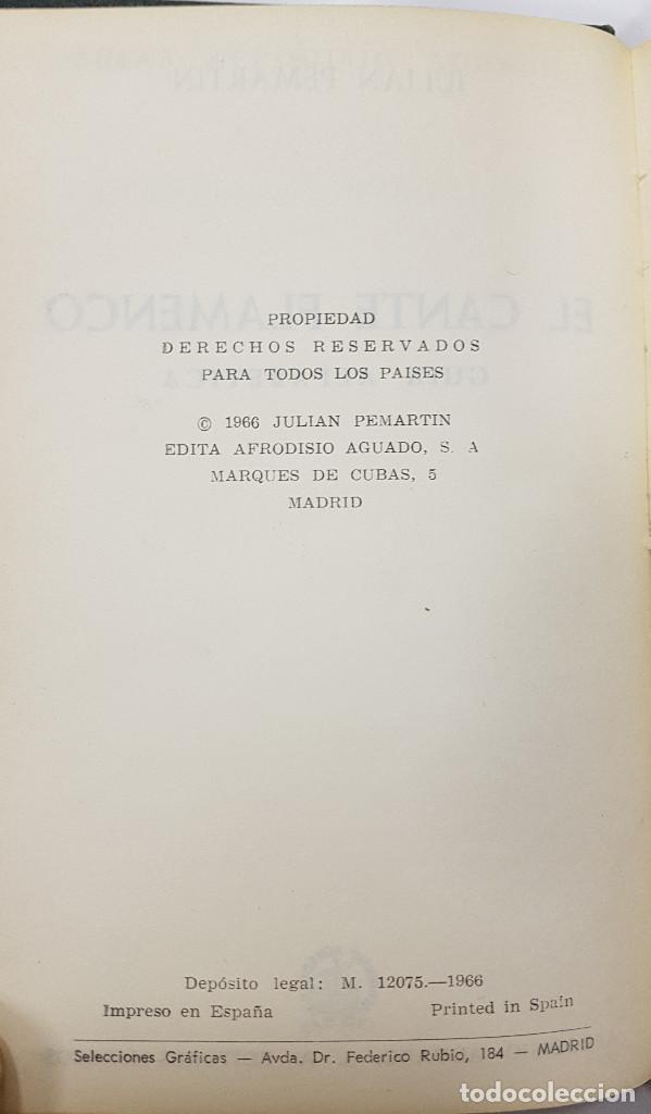 Catálogos de Música: EL CANTE FLAMENCO, Guía Alfabética. Julián Pemartín. 1966 (láminas,encarte). Muy buen estado - Foto 4 - 229023080