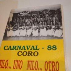 Catálogos de Música: G-59 LIBRETO CARNAVAL DE CADIZ 1988 88 CORO NILO UNO NILO OTRO. Lote 229769310