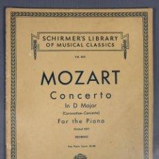 Catálogos de Música: MOZART CONCERTO IN D MAJOR PARA PIANO-SCHUMER'S LIBRARY OF MUSICAL CLASSICS VOL.665. Lote 240525625