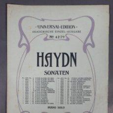 Catálogos de Música: HAYDN SONATEN-UNIVERSAL EDITION AKADEMISCHE EINZEL-AUSGABE-PINAO SOLO-W.RAUCH. Lote 240525660