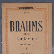 Catálogos de Música: BRAHMS OP.116-PIANO SOLO II OTTO SINGER-ELITE EDITION. Lote 240525690