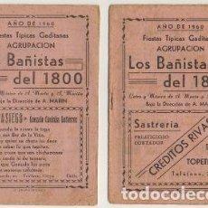 """Catalogues de Musique: FIESTAS TIPICAS GADITANAS 1960. AGRUPACION """"LOS BAÑISTAS DEL 1800"""". DOS PARTES A-C-2058. Lote 241889680"""