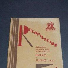 Catálogos de Música: ODEON , RECOPILACIÓN DE ENERO A JUNIO DE 1930. Lote 246313665