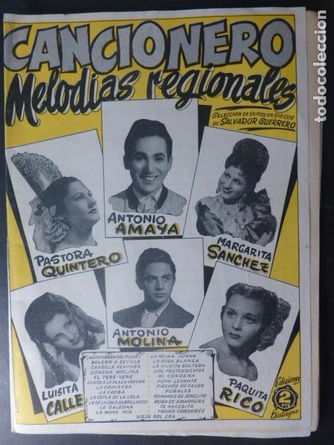 CANCIONERO MELODIAS REGIONALES PAQUITA RICO ANTONIO AMAYA EDICIONES BISTAGNE BARCELONA (Música - Catálogos de Música, Libros y Cancioneros)