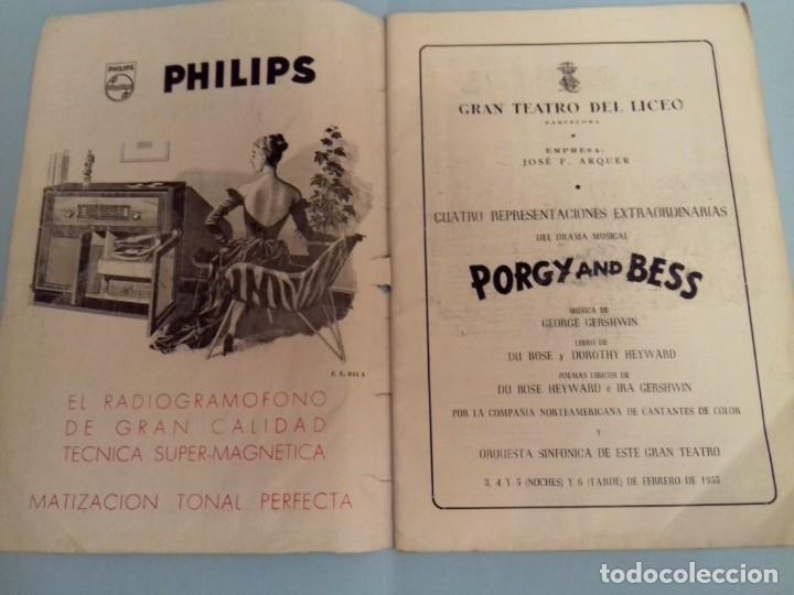 Catálogos de Música: Programa musical Opera PORGY and BESS de George Gershwin, Teatro del Liceo Barcelona, Febrero 1955 - Foto 2 - 252377710