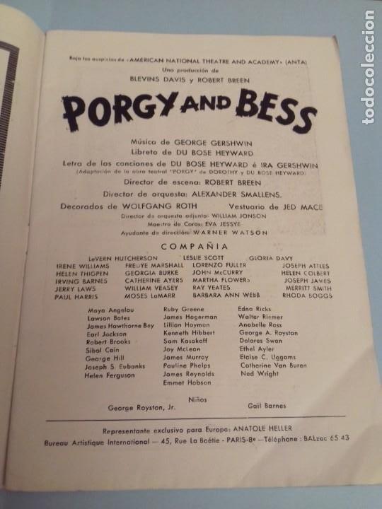 Catálogos de Música: Programa musical Opera PORGY and BESS de George Gershwin, Teatro del Liceo Barcelona, Febrero 1955 - Foto 5 - 252377710