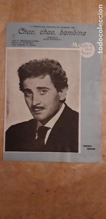 1 CANCIONERO ,DE ** DOMENICO MODUGNO ..CHAO. CHAO. BAMBINA ** CANCIONES DEL SUR AÑO 1959 (Música - Catálogos de Música, Libros y Cancioneros)