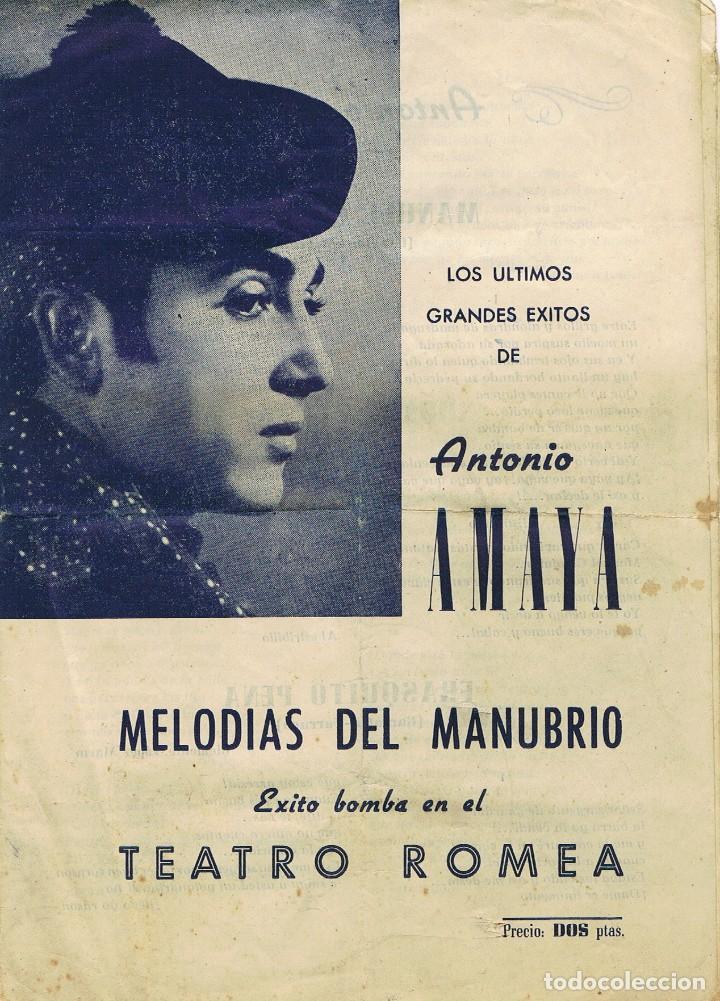 CANCIONERO. ANTONIO AMAYA. MELODÍAS DEL MANUBRIO. TEATRO ROMEA. BARCELONA. AÑOS 60. (Música - Catálogos de Música, Libros y Cancioneros)