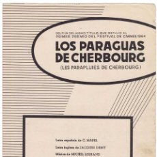 Catálogos de Música: CANCIONERO LOS PARAGUAS DE CHERBOURG DE MICHEL LEGRAND. Lote 255673180