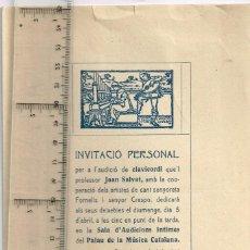 Catálogos de Música: 1914 AUDICIÓ DE CLAVICORDI DEL PROFESSOR JOAN SALVAT, COOPERARAN SRTA. FORNELLS I SR. CRESPO. Lote 262957600