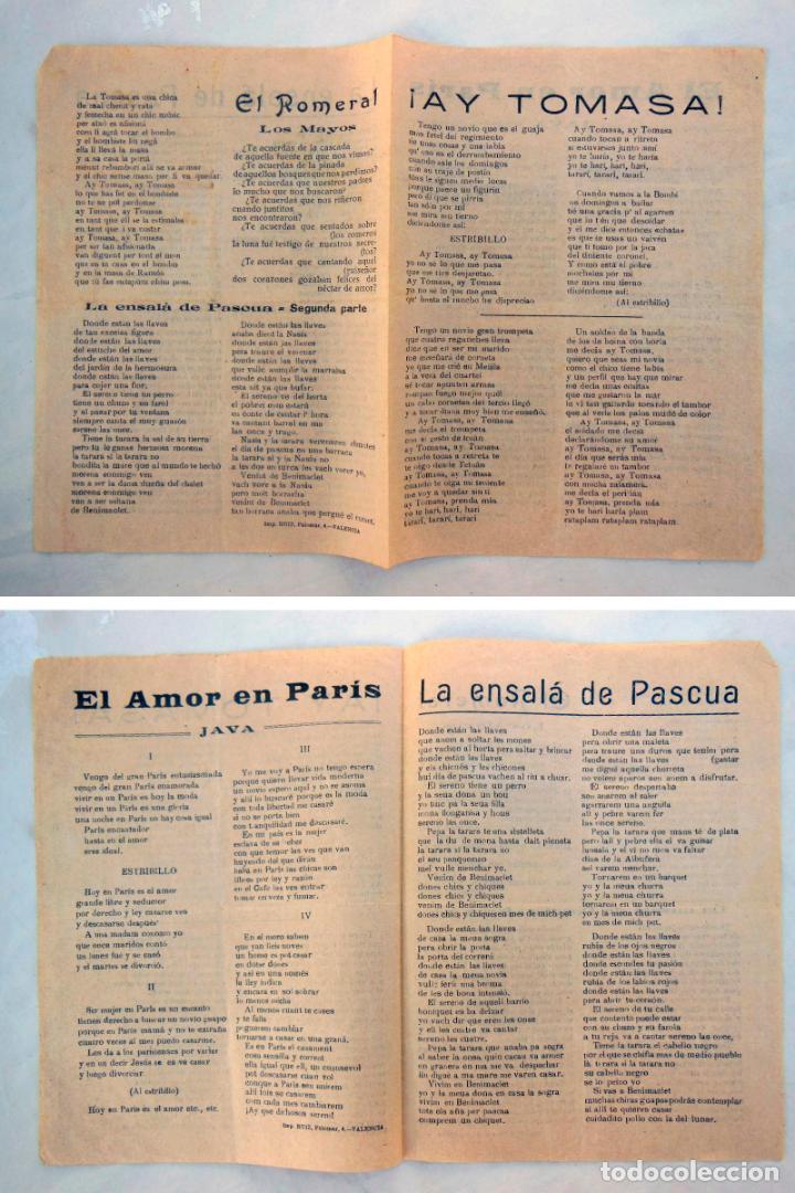 ANTIGUA HOJA CANCIONERO : AY TOMASA!; EL AMOR EN PARÍS; LA ENSALÁ DE PASCUA; EL ROMERAL. (Música - Catálogos de Música, Libros y Cancioneros)