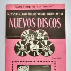 Catálogos de Música: CATÁLOGO. NUEVOS DISCOS. LA VOZ DE SU AMO, ODEÓN, REGAL, PATHE, M.G.M. DIVERSOS ESTILOS. 1955. Lote 267810564