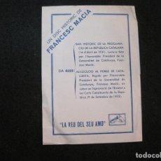 Catálogos de Música: PUBLICITAT LA VEU DEL SEU AMO-DISC HISTORIC DE FRANCESC MACIA-REPUBLICA CATALANA-VER FOTOS-(K-3310). Lote 269463353
